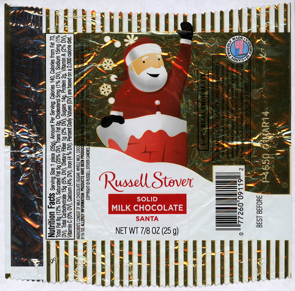 Russell Stover - Santa - Solid Milk Chocolate - foil Christmas candy wrapper - 2013