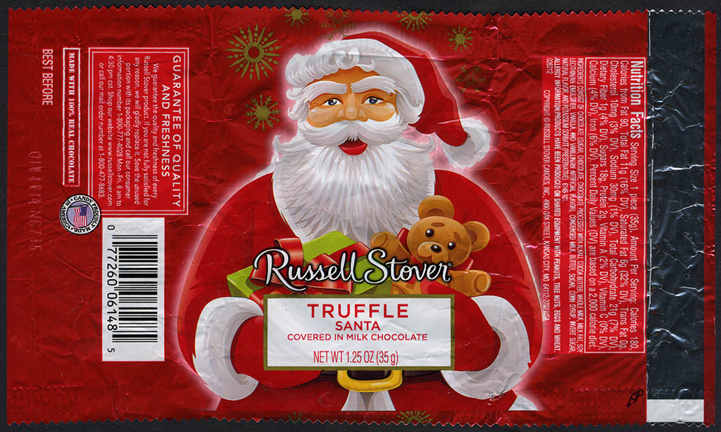 Russell Stover - Santa - Truffle - foil Christmas candy wrapper - 2013