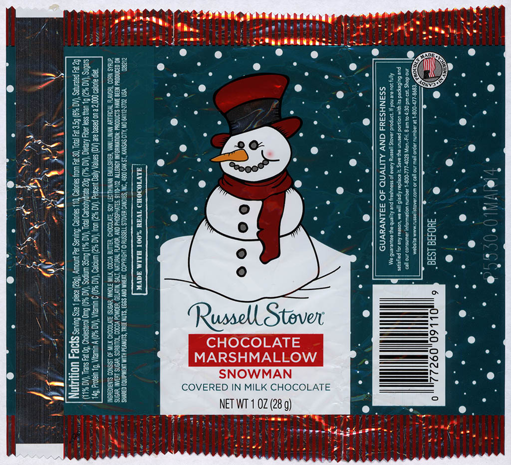Russell Stover - Snowman - Chocolate Marshmallow - foil Christmas candy wrapper - 2013