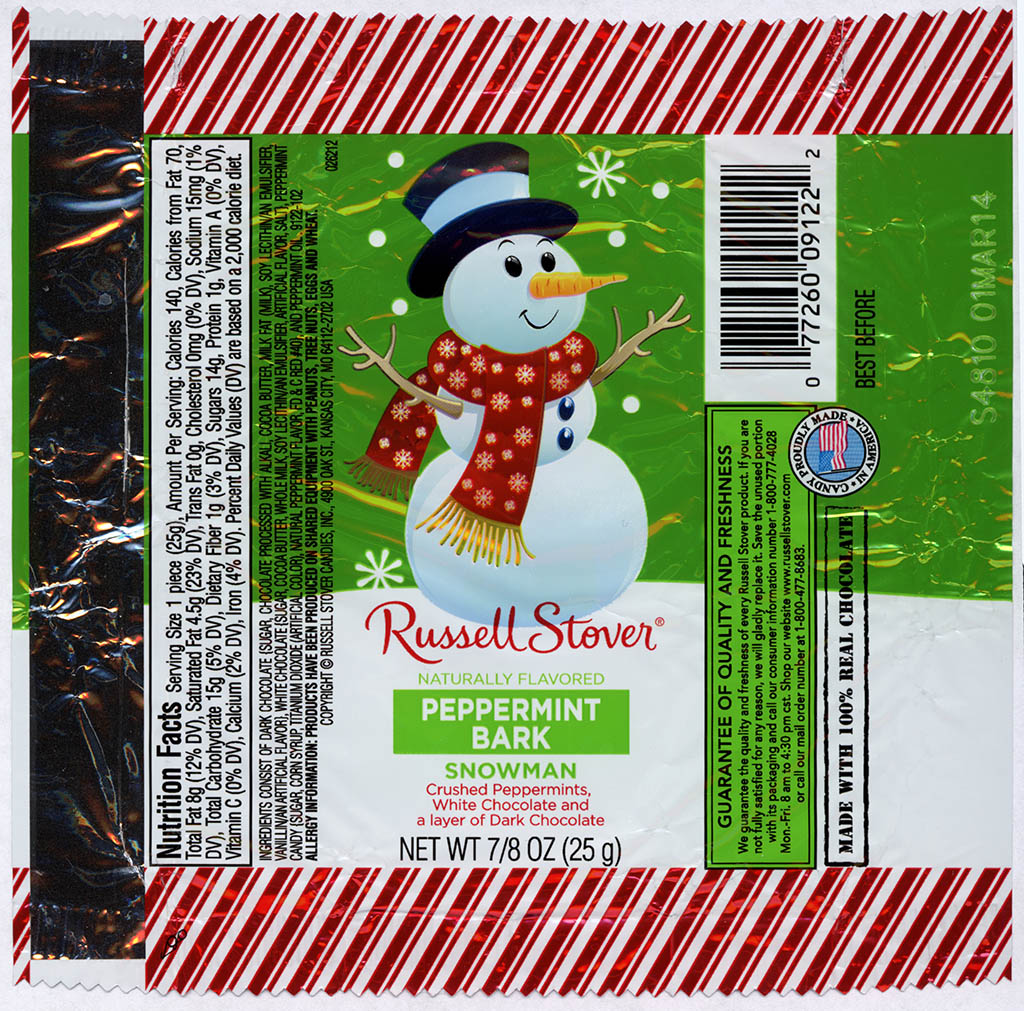 Russell Stover - Snowman - Peppermint Bark - foil Christmas candy wrapper - 2013