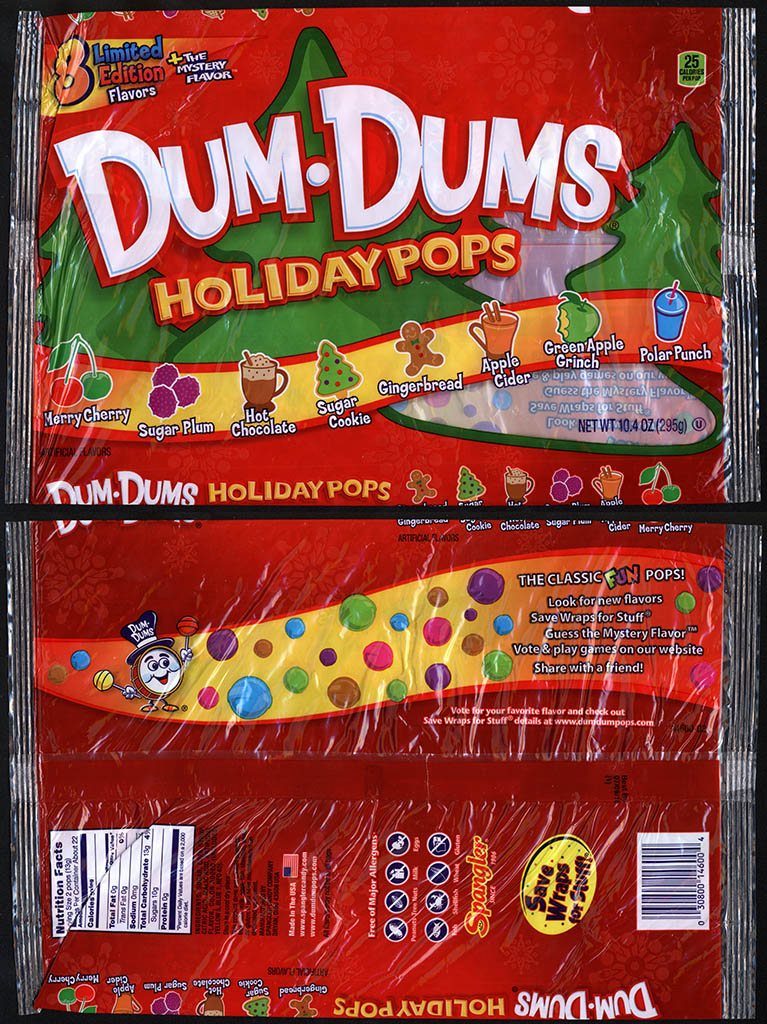 Spangler - Dum Dum Holiday Pops - 10.4 oz Christmas candy package - 2013