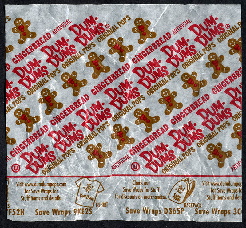 Spangler - Dum Dum Holiday Pops - Gingerbread - Christmas candy wrapper - 2013