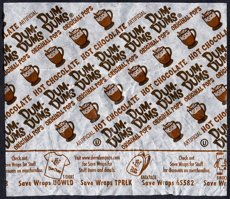 Spangler - Dum Dum Holiday Pops - Hot Chocolate - Christmas candy wrapper - 2013