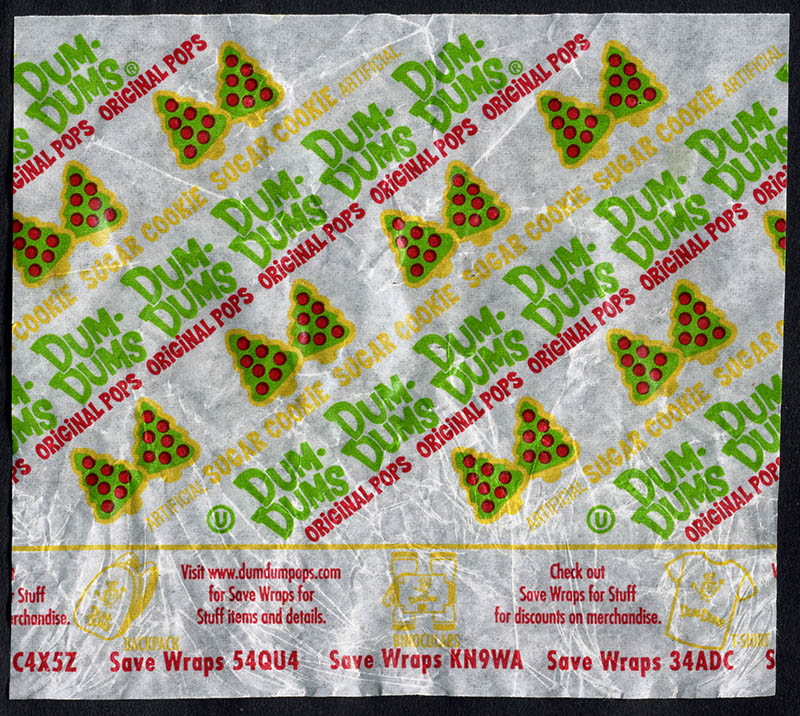 Spangler - Dum Dum Holiday Pops - Sugar Cookie - Christmas candy wrapper - 2013