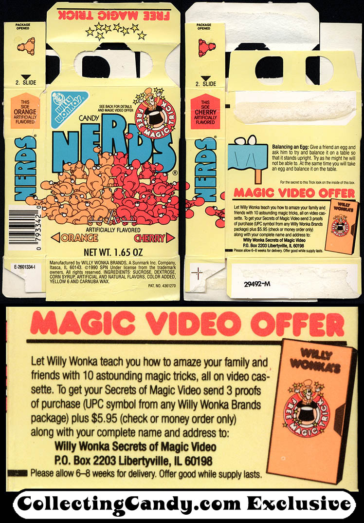 Sunmark - Willy Wonka Brands - Nerds - Orange Cherry - Free Magic Trick offer - 1.65 oz candy box - 1990