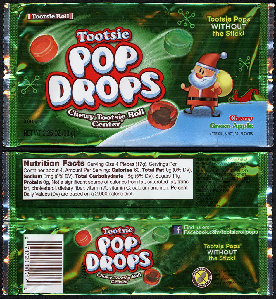 Tootsie Roll Industries - Tootsie Pop Drops - Christmas package - Santa - foil candy package - 2013