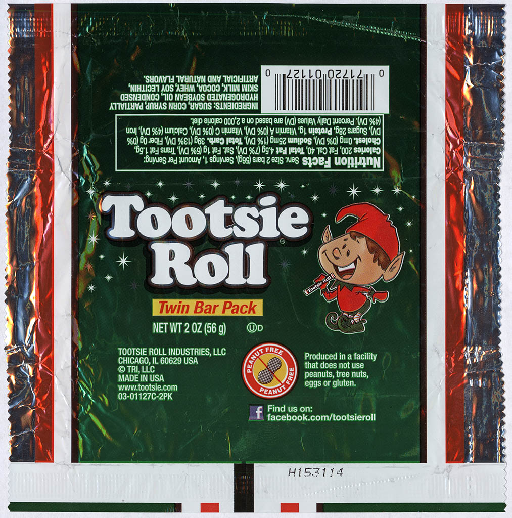 Tootsie Roll Industries - Tootsie Roll Twin Bar - Christmas package - Elf - foil candy wrapper - 2013