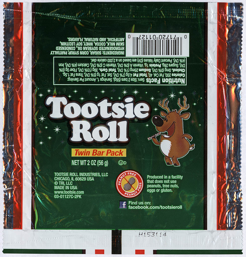 Tootsie Roll Industries - Tootsie Roll Twin Bar - Christmas package - Reindeer - foil candy wrapper - 2013
