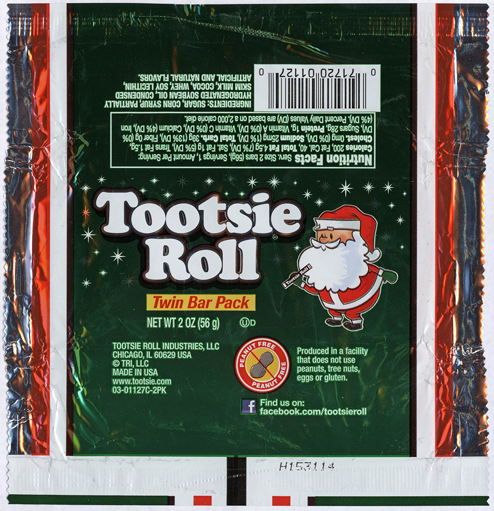 Tootsie Roll Industries - Tootsie Roll Twin Bar - Christmas package - Santa - foil candy wrapper - 2013