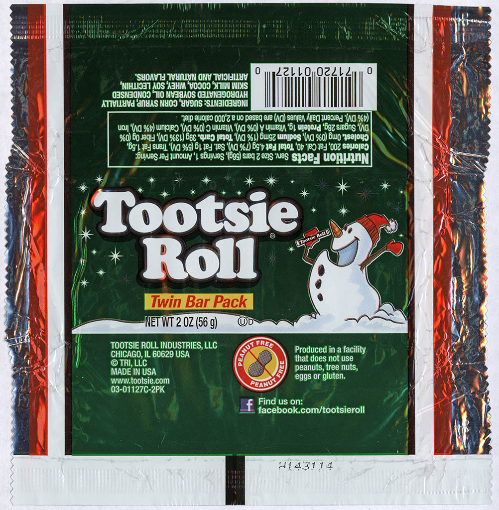 Tootsie Roll Industries - Tootsie Roll Twin Bar - Christmas package - Snowman - foil candy wrapper - 2013