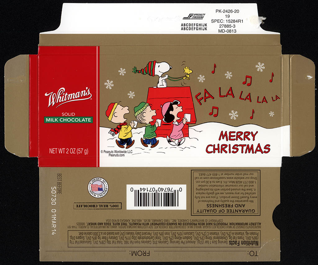 Whitman's - Peanuts Christmas Fa La La La La - chocolate bar holiday box - December 2013