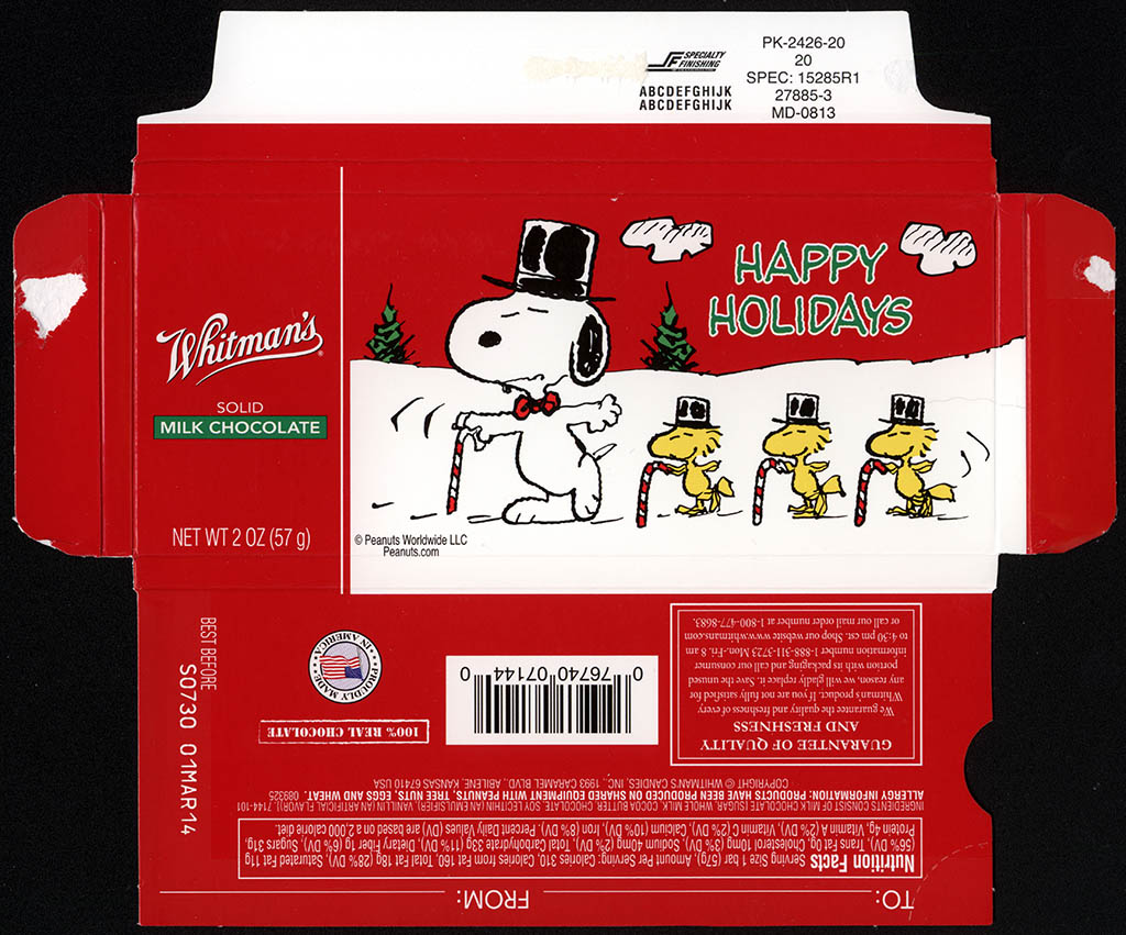 Whitman's - Peanuts Christmas Snoopy & Woodstock dance line - chocolate bar holiday box - December 2013