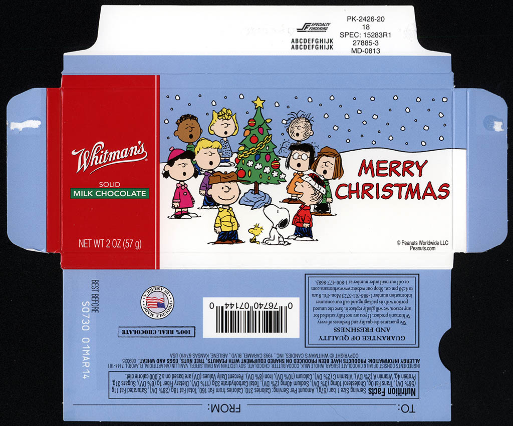 Whitman's - Peanuts Christmas Tree - chocolate bar holiday box - December 2013