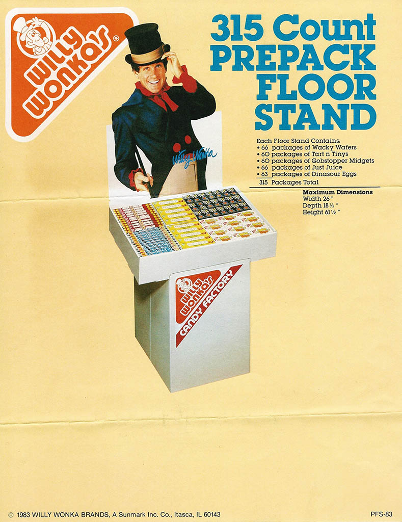 Willy Wonka Brands - 315 Count Prepack Floor Standee - candy trade promotional flyer - 1983 - courtesy Mark Sweet