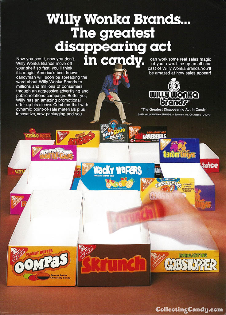 Willy Wonka Brands - Greatest Disappearing Act in Candy - candy trade ad - 1981 - courtesy Mark Sweet