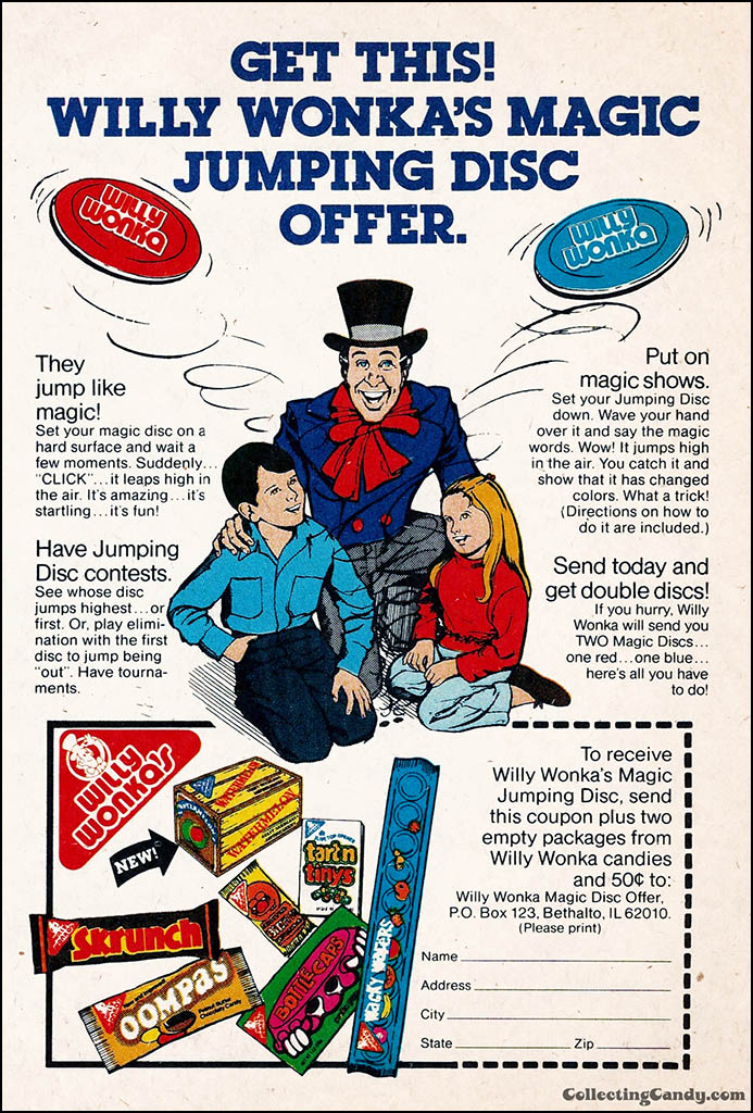 Willy Wonka Brands - Magic Jumping Disc Offer - comic book ad proof - 1981 - courtesty Mark Sweet