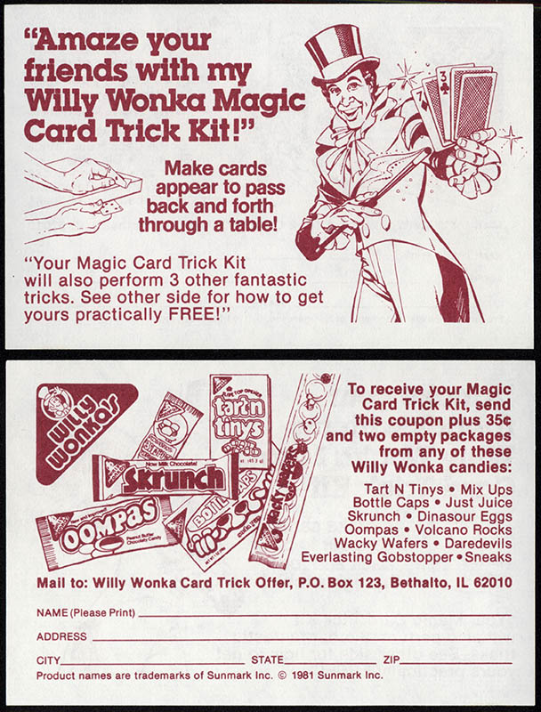 Willy Wonka Card Trick Offer mail-away coupon - 1981 - Courtesy Mark Sweet