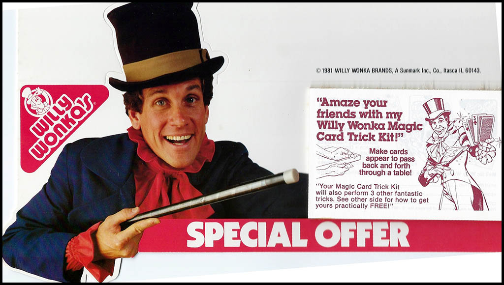 Willy Wonka - Magic Card Trick Kit - mail-away coupon display header - feat Mark Sweet as Willy Wonka - 1981