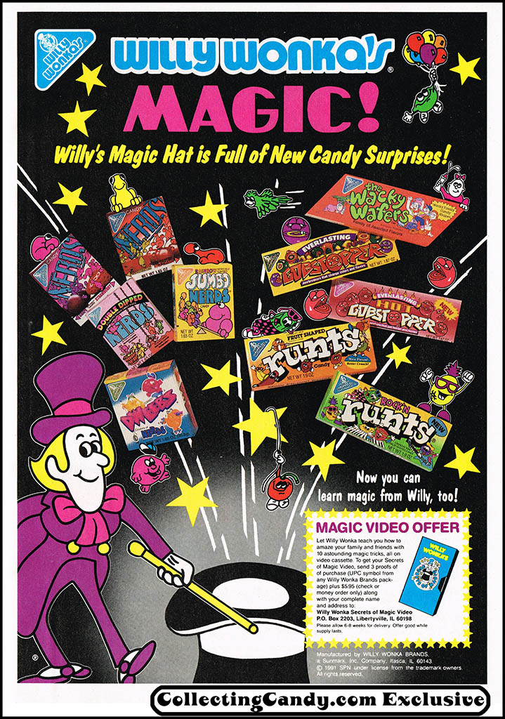 Willy Wonka - Willy Wonka's Magic magazine ad - Secrets of Magic video offer - Simpsons Illustrated - 1991