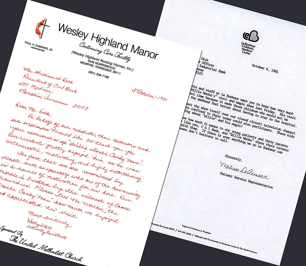 Willy Wonka appearnce letters of appreciation - 1981 - courtesy Mark Sweet