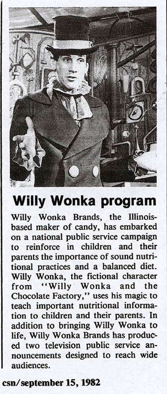 Willy Wonka nutrition program trade clipping - September 1982 - courtesy Mark Sweet