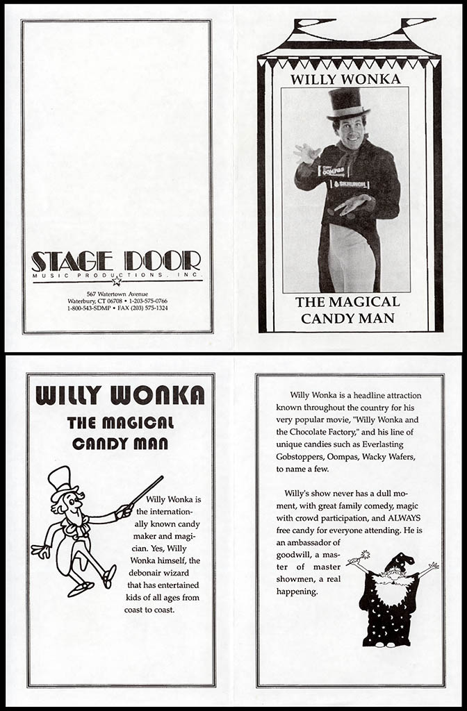 Willy Wonka the Magical Candy Man - Stage Door Music Productions flyer - circa 1980 - courtesy Mark Sweet