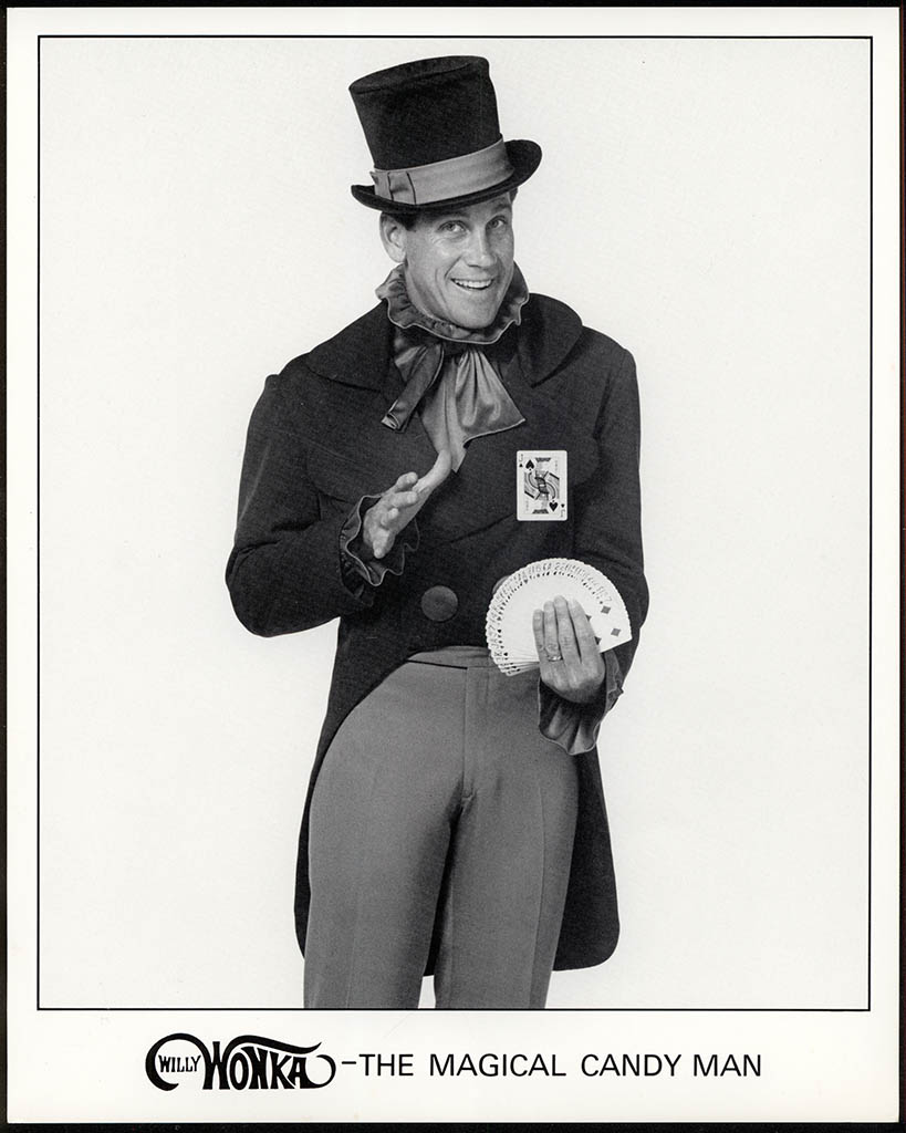 Willy Wonka the Magical Candy Man - black&white publicity photo - circa 1990 - courtesy Mark Sweet