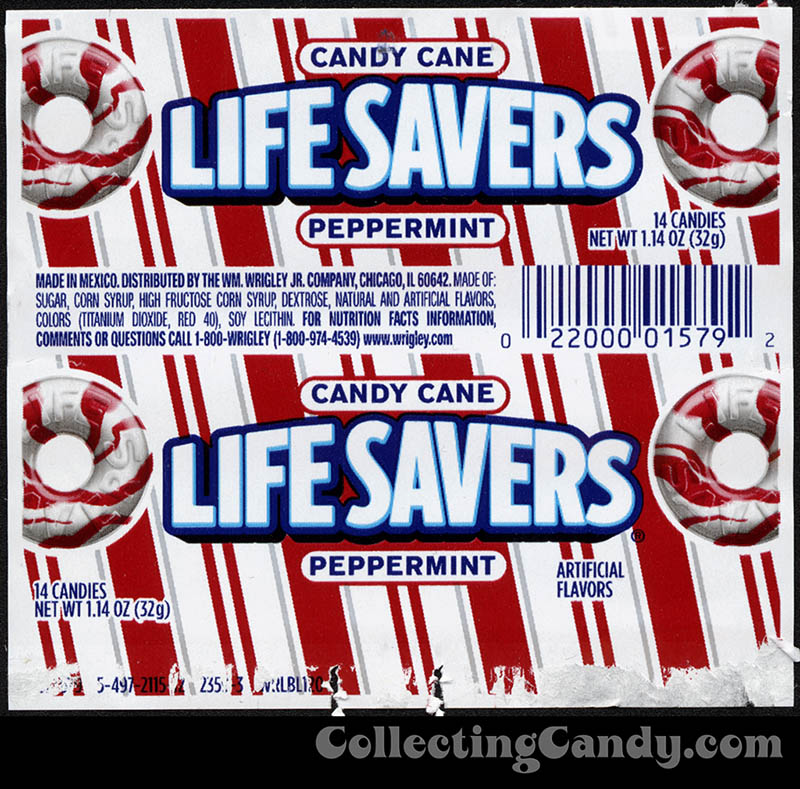 Wrigley - Lifesavers - Candy Cane Peppermint - roll candy wrapper - December 2013
