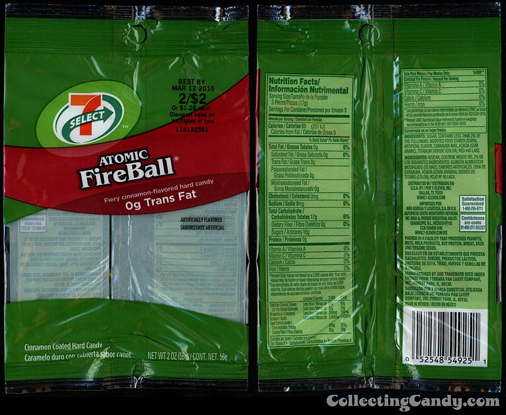 7-Eleven - 7-Select - Ferrara Pan Atomic FireBall - 2 oz store brand candy bag package - 2014