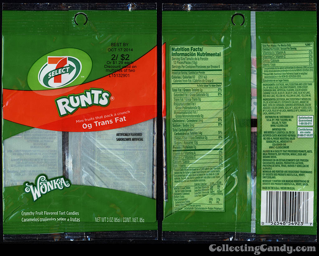 7-Eleven - 7-Select - Wonka Runts - 3 oz store brand candy bag package - 2014