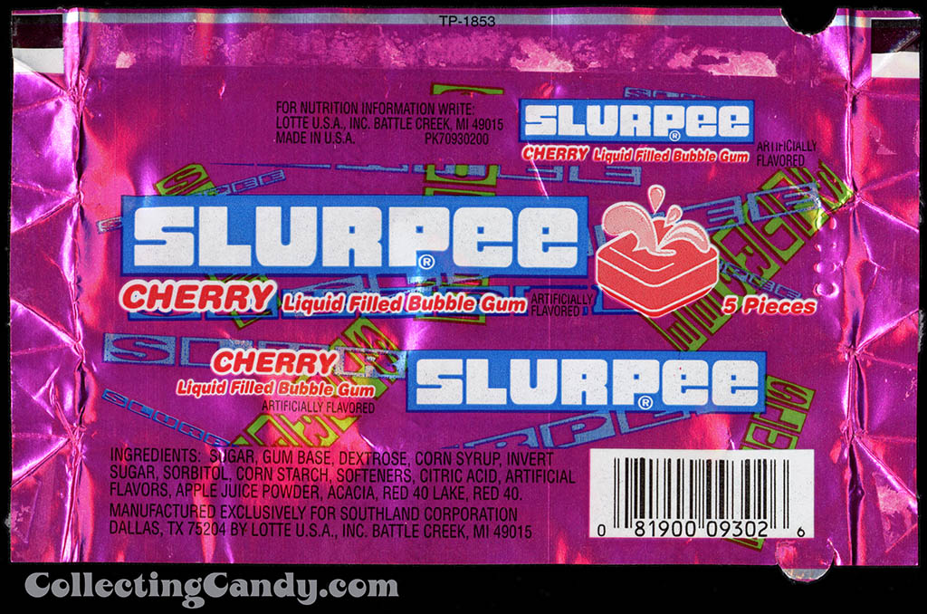 7-Eleven - Lotte - Slurpee - Cherry - liquid filled gum - foil gum wrapper - 1998
