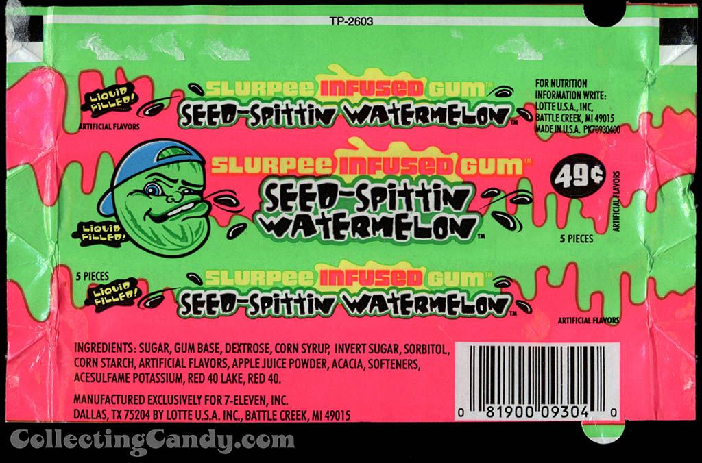 7-Eleven - Lotte - Slurpee Infused Gum - Seed-Spittin Watermelon - liquid filled - 49-cent gum wrapper - 2003