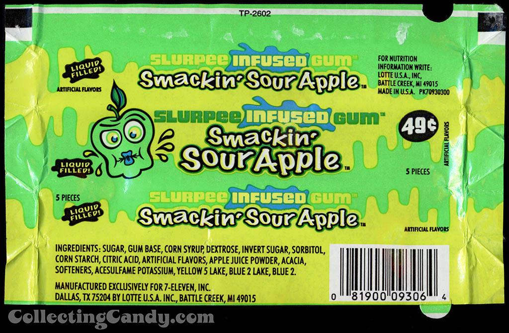 7-Eleven - Lotte - Slurpee Infused Gum - Smackin' Sour Apple - liquid filled - 49-cent gum wrapper - 2003