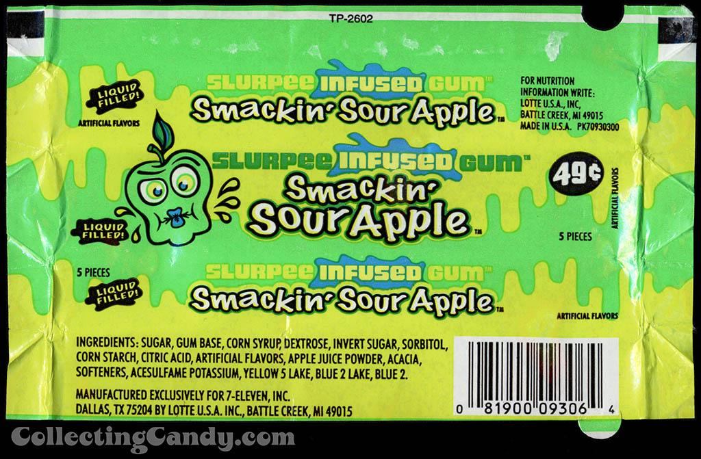 7-Eleven - Lotte - Slurpee Infused Gum - Smackin' Sour Apple - liquid filled - 49-cent gum wrapper - 2003