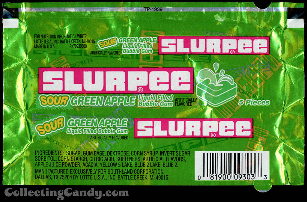 7-Eleven - Lotte - Slurpee - Sour Green Apple - liquid filled bubble gum - foil gum wrapper - 1999