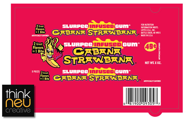 7-Eleven - Slurpee Infused Gum - Cabana Strawbana wrapper design proof - Image source Think Neu Creative