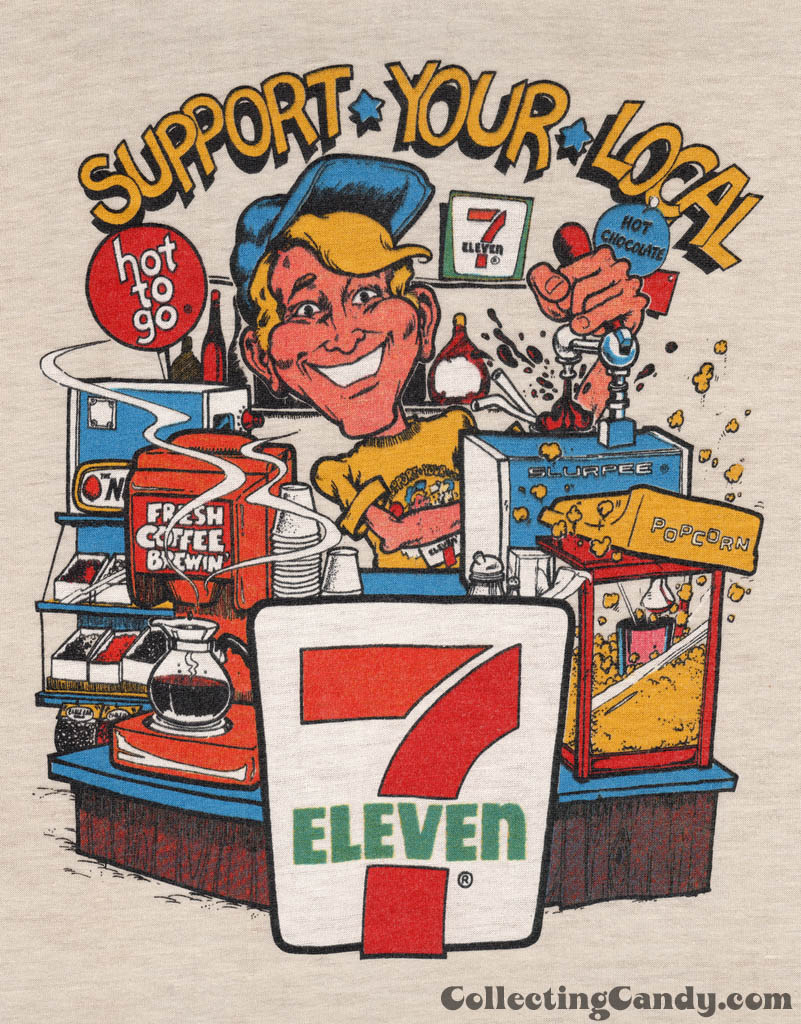 7-Eleven - Support Your Local 7-Eleven screen print t-shirt - Late 1970's  Early 1980's