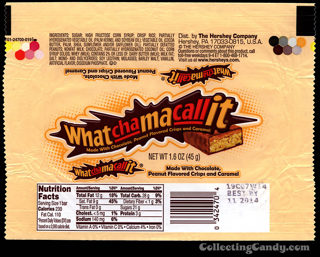 Hershey - Whatchamacallit - chocolate candy bar wrapper - 2013