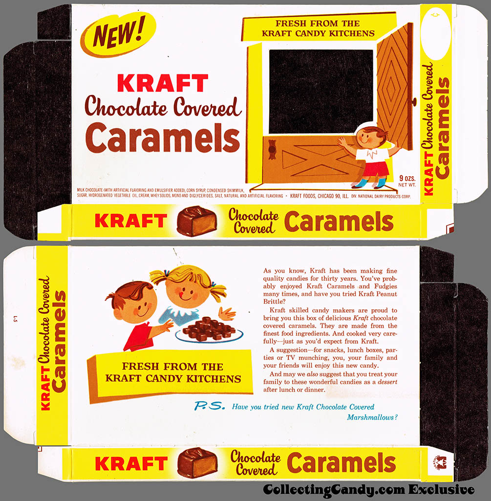 Kraft Candy Kitchens - Chocolate Covered Caramels - candy box - Marathon printer package sample - 1962