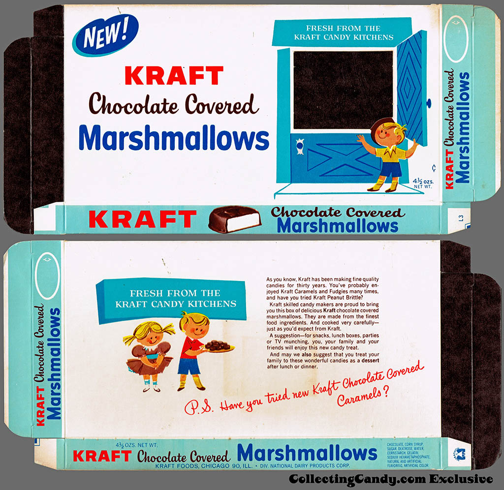 Kraft Candy Kitchens - Chocolate Covered Marshmallows - candy box - Marathon printer package sample - 1962