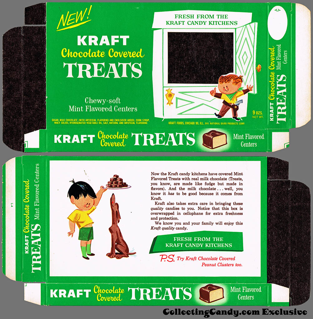 Kraft Candy Kitchens - Chocolate Covered Mint Treats - candy box - Marathon printer package sample - 1962