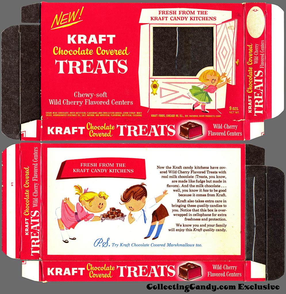 Kraft Candy Kitchens - Chocolate Covered Wild Cherry Treats - candy box - Marathon printer package sample - 1962