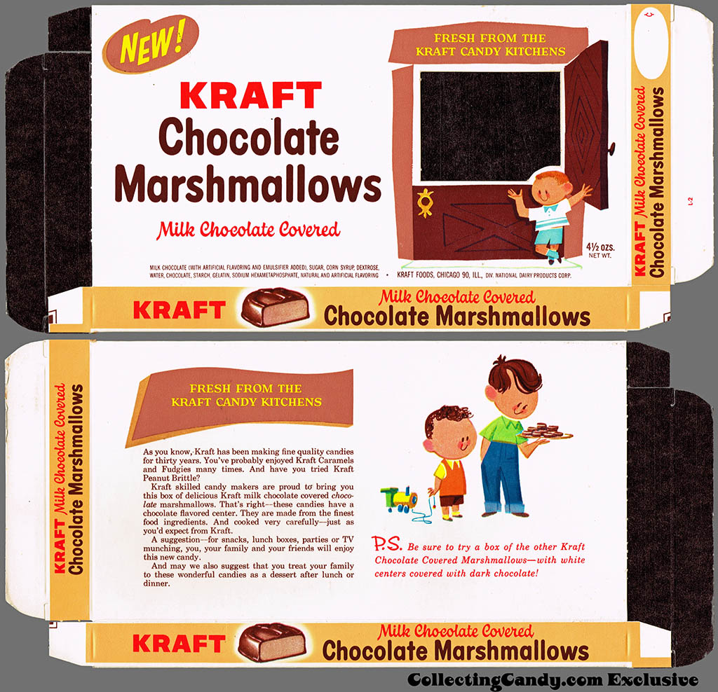 Kraft Candy Kitchens - Chocolate Marshmallows - candy box - Marathon printer package sample - 1962