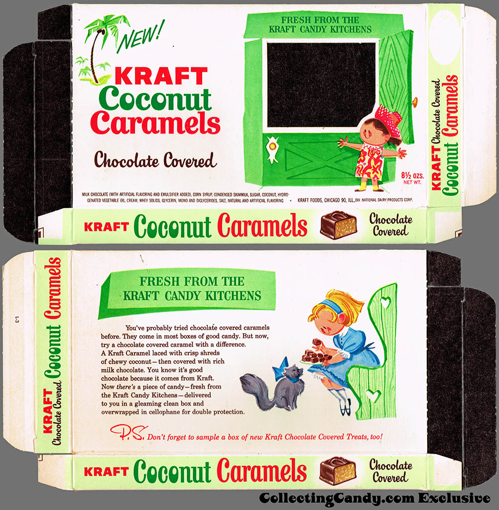 Kraft Candy Kitchens - Coconut Caramels - candy box - Marathon printer package sample - 1962