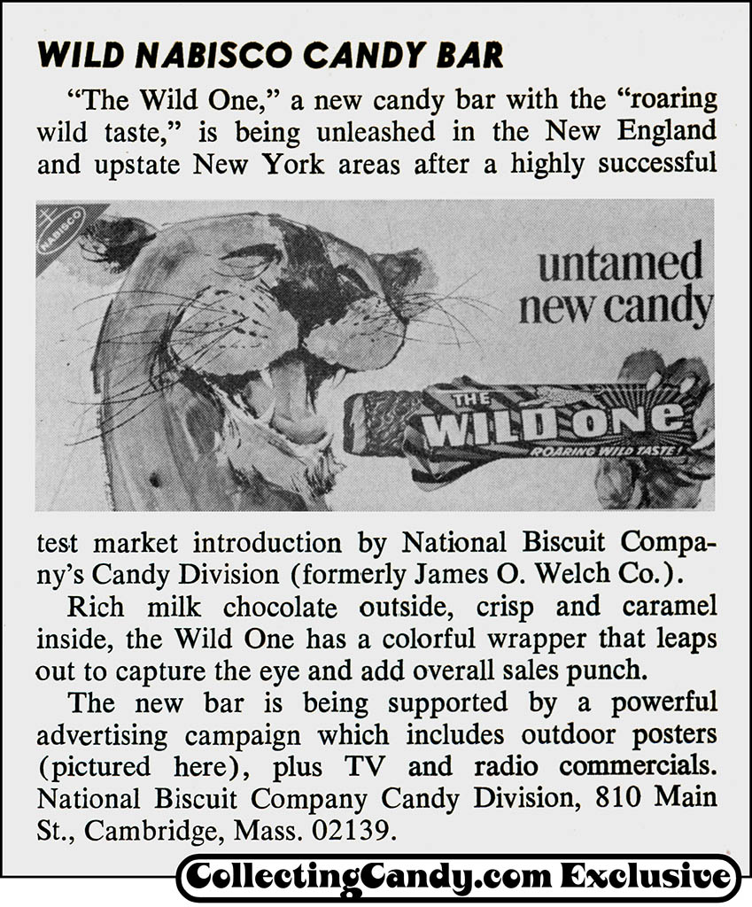 Nabisco - The Wild One - chocolate candy bar - trade magazine news clipping - January 1969