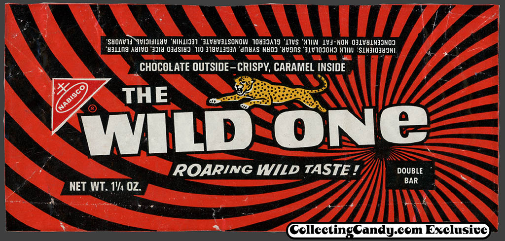 Nabisco     The Wild One     chocolate candy bar wrapper     1969One Candy Bar