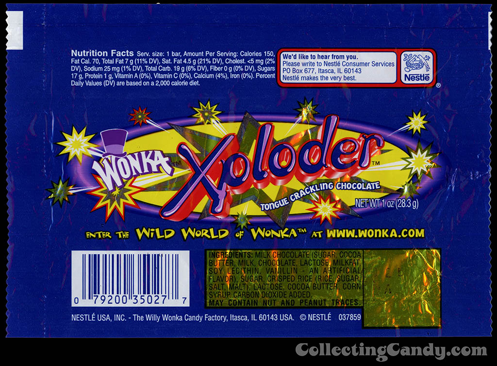 Nestle USA - Wonka - Xploder - tongue crackling chocolate - 1 oz chocolate candy bar wrapper - 2000