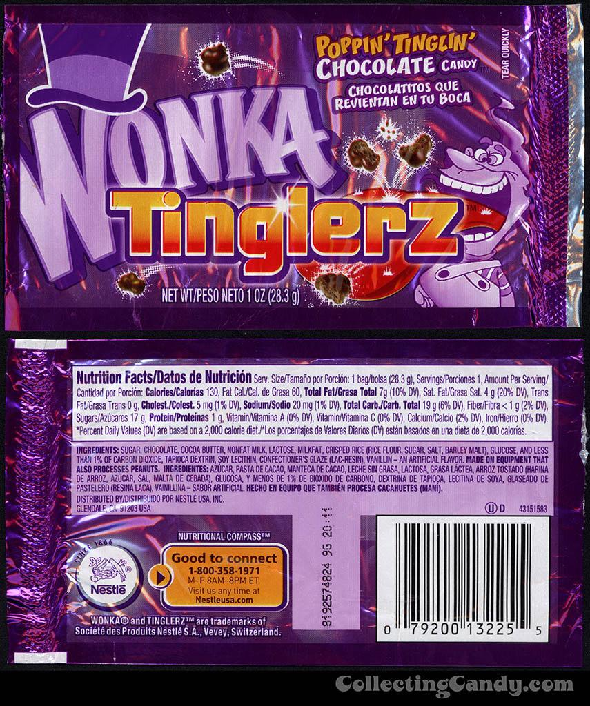 Nestle - Wonka - Tinglerz - poppin' tinglin' chocolate candy - 1 oz candy package - 2008