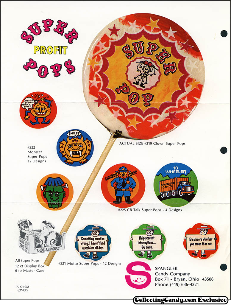 Spangler - Super Pops Profit - promotional candy flyer - early 1970's