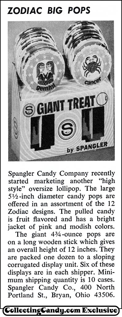 Spangler - Zodiac Big Pops - candy trade magazine clipping - December 1971